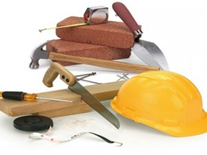 Набор строительных материалов и необходимого оборудования при строительстве