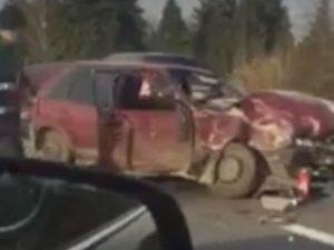 Под Минском смоляне на машине влетели под автопоезд