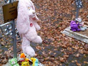 Смоляне возложили игрушки к могилам погибших в детском саду малышей