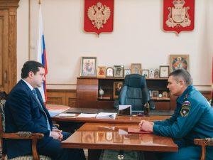 Губернатор встретился с руководителем регионального управления МЧС Алексеем Назарко